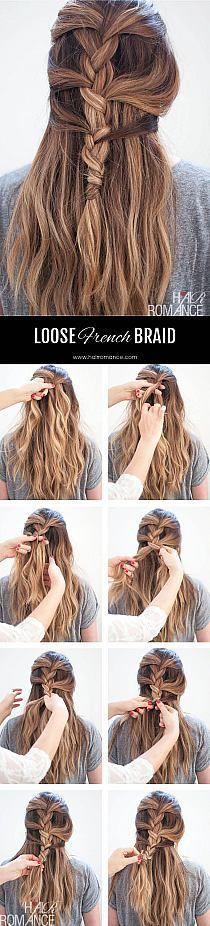 Loose French braid tutorial for long hair - Hair Romance