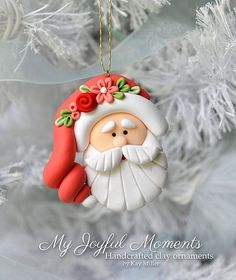 Handcrafted Polymer Clay Santa Claus Ornament by MyJoyfulMoments by lilmic Polymer Clay Kunst, Fimo Clay, Polymer Clay Projects, Polymer Clay Creations, Clay Crafts, Clay Beads, Polymer Clay Ornaments, Polymer Clay Charms, Crea Fimo