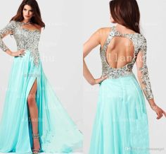 Wholesale Evening Dresses - Buy 2014 Mac Duggal Prom Dress 85307 Sky Blue Sexy One Shoulder Sheath Crystal Sequins Fabric Chiffon Dresses Long Backless Beaded Formal Gown, $169.63 | DHgate