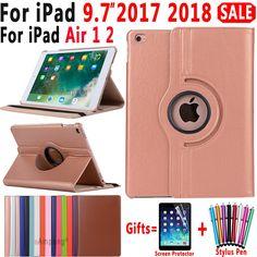 360 Degree Rotating Leather Smart Cover Case for Apple iPad Air 1 Air 2 5 6 New iPad 2017 2018 Coque Funda Ipad Air 2, Shell, Laptop, Apple New, Mobile Accessories, New Ipad, Apple Ipad, Ipad Mini, Screensaver