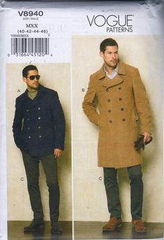 Vogue 8940  Mens Winter Double Breasted Peacoat Jacket and below waist pants sewing pattern  by mbchills