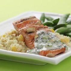 Cashew Salmon with Apricot Couscous  487 calories  Yogurt sauce flavored with lemon, cumin and cilantro tops this Indian-inspired grilled salmon and apricot couscous.