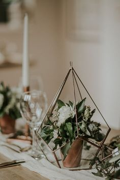 Copper Terrariums Flower Centerpieces // greenery, wedding, modern, geometric, rustic