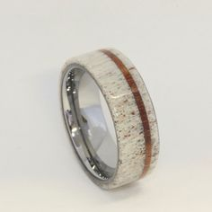 Deer Antler Ring with Oak Pinstripe and Titanium by jewelrybyjohan, $336.00