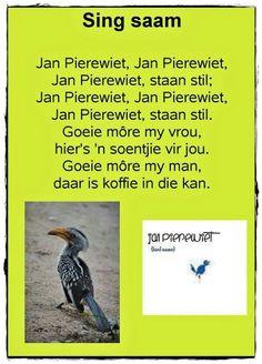#Afrikaners #Childhood Memories Preschool Songs, Preschool Learning, Preschool Classroom, Classroom Ideas, Teaching, Animals Name In English, Disney Song Lyrics, Nursery Rymes, Afrikaans Language