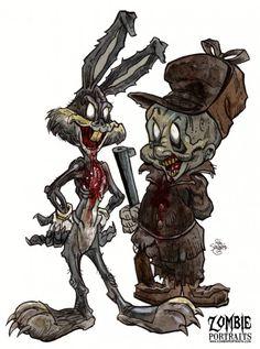 zombie rabbits | Zombie Art by Rob Sacchetto » Bugs Bunny and Elmer Fudd Zombies