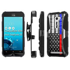 Buy AT&T ASUS [ZenFone 2E] Armor Case [SlickCandy] [Black/Black] Heavy Duty Defender [Holster] [Kick Stand] Phone Case - [Fire Police Red Blue Line] for ASUS [ZenFone 2E] NEW for 14.5 USD | Reusell