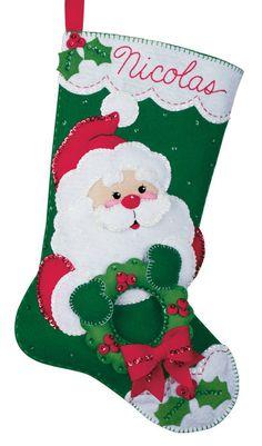 Christmas Santa Felt Christmas Stocking by AidensLove on Etsy, $65.00