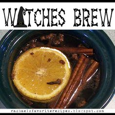 Witches Brew 1 apple 1 orange 1 lemon 2 T whole allspice 2 T whole cloves 4 cinnamon sticks Slice fruit into rings. Don't worry about peels, seed, cores, etc. Place all ingrdients into a crock-pot. Fill with water. Simmer on low.smells like fall! Holidays Halloween, Halloween Fun, Halloween Decorations, Halloween Witches, Halloween Desserts, Halloween Season, Halloween House, Fall Decorations, Favorite Holiday