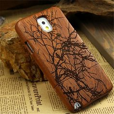 Wooden Case For Samsung Galaxy Note 3 Case Carving Bamboo Wood Phone Bag Cover