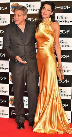 "Amal Clooney with husband George Clooney at the ""Tomorrowland"" premiere in Tokyo on May 25, 2015"