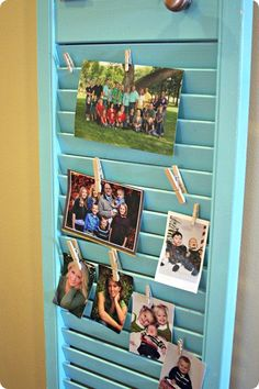 Shutter for pictures with clothes pins, so cute! Would be good for notes near the door too