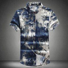 XMY3DWX Summer men fashion leisure brand linen big yards short shirts/male Printed lapel casual linen shirts S-6XL