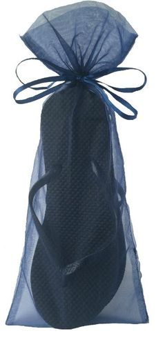 e820187f2b5db Classic Black Flip Flop with Smoke Blue Organza Bags. Treat your female  guests ...