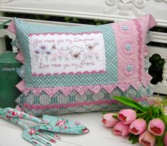 """""""Daughter"""" by Sally Giblin of The Rivendale Collection. Verse reads: God made you my Daughter... Love made you my friend. Finished cushion size: 15"""" x 22"""" #TheRivendaleCollection stitchery, appliqué and patchwork patterns. www.therivendalecollection.com.au"""