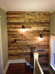 DIY #Pallet #Wall for Upstairs with Lights | 101 Pallet Ideas