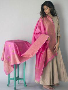 Pink Triangle Block Printed Chanderi Dupatta