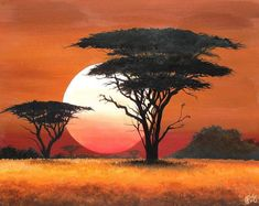 """Items similar to African Landscape Sunset Painting: """"Setting Sun"""" on Etsy - paint and art Easy Landscape Paintings, Nature Paintings, Landscape Art, Watercolor Paintings, Sun Painting, Mountain Landscape, Art Paintings, Afrique Art, African Sunset"""