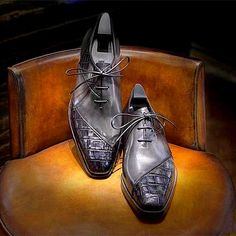 Men's Shoes, Dress Shoes, Mens Dress Outfits, Leather Skin, Crocodile Skin, Luxury Shoes, Shoe Collection, Bespoke, Exotic