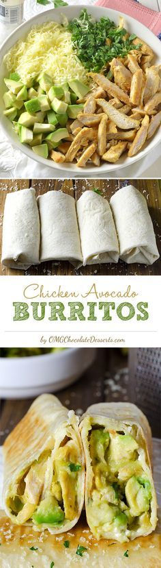 Chicken Avocado Burritos (shredded chicken, avocado, cheese, cilantro, sour cream)