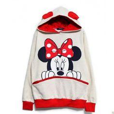Mickey In Phụ Nữ Hoodies Lông Cừu Thời Trang Phim Hoạt Hình Áo với Tai Femme Loose Áo Thun Trang Phục Cộng Với Kích Thước