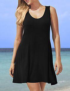 Feminino Evasê   Solto Vestido, Casual   Tamanhos Grandes Sensual   Simples  Sólido Decote Redondo 2022a5dbf3