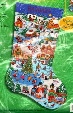 "BUCILLA CHRISTMAS VILLAGE WINTER ""HOLIDAY SCENES"" CREWEL EMBROIDERY STOCKING KIT #BUCILLA"