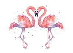 Deux oiseaux Flamingo peinture aquarelle oiseaux damour