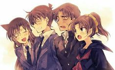 Look at these lovely couples ♥ -Detective Conan- ı am anime Ran And Shinichi, Kudo Shinichi, Dc Couples, Anime Couples, Magic Kaito, Happy Tree Friends, Dc Anime, Manga Anime, Anime Art