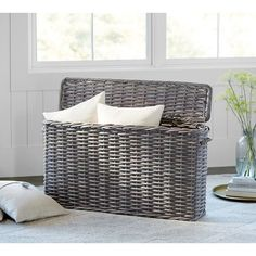 Pottery Barn Aubrey Woven Oversized Lidded Basket ($223) ❤ Liked On  Polyvore Featuring Home