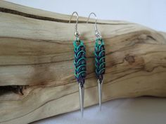 Handmade Coloured Chainmaille Spike Earrings. Purple and Green.