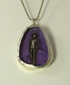Emerging and having a voice...  PMC, Up cycled sterling silver, Amethyst  Pendant