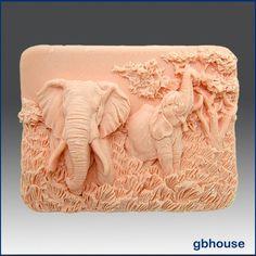 2 D Silicone Soap Mold - Enchanting Elephants