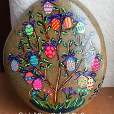 Like my fb page https://www.facebook.com/TheNorthForkRiverRocks/ This one is on auction on my ebay page now. #easter #egg #paintedrocks #paintedrock #tree