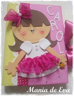 Niña Foam Crafts, Diy And Crafts, Arts And Crafts, Paper Crafts, Cottage Crafts, Decorate Notebook, Kids Birthday Cards, Punch Art, Felt Dolls