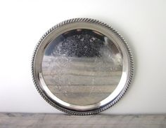 Vintage Round Silver Plate Tray Wm Rogers by 22BayRoad on Etsy, $20.00