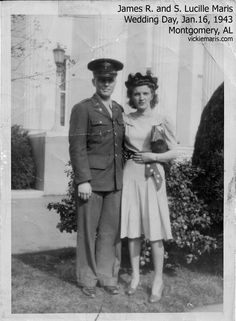 Photo of Jim and Lucille Maris in 1943 on wedding day