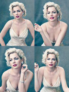 En la próxima edición de Octubre de la revista Vogue, vendrá una sesión fotográfica realizada por la famosa Annie Leibovitz, en la que podremos ver a Michelle Williams, la mismísima Jen Lindley de Dawson´s Creek, convertida en Marilyn Monroe. ¿Por qué Marilyn Monroe? Porque la señorita Williams encarnará a la famosa blonda en la película…