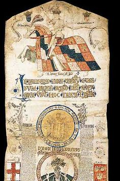 The Edward IV Roll - Edward IV on horseback at the top. It was probably created to commemorate Edward IV's coronation in June 1461. It was a powerful statement of his authority and claim to the throne.