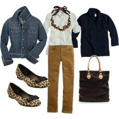 Classic outfit even with the leopard shoes...I need to pull out the Denim jacket!