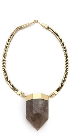 Mania Mania Performance Necklace -  FREE SHIPPING at shopbop.com. A faceted quartz pendant brings natural beauty to a herringbone-chain necklace. Hook-and-eye clasp. Brass.
