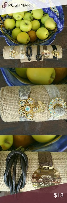 New fall colors in. Statement bracelets All 18k gold plated,  swarovsky cristals,  and leather,  Bohemian style,  different,  you need this in your collection to stand out.  Every bracelet is listed separately  18 each. All fall bundle and save 30 % off. Jewelry Bracelets