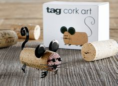 "cork art with ""corky the mouse"" gift set  adorable metal pieces"