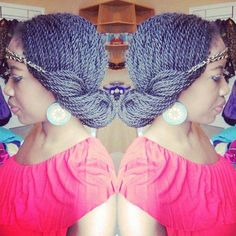 If you're looking for new Kinky Twist style, Check out our list of Kinky Twists styles ideas! Box Braids Hairstyles, Senegalese Twist Hairstyles, My Hairstyle, Senegalese Twists, Senegalese Styles, Hairstyles Haircuts, Trendy Hairstyles, Updo With Headband, Twist Headband
