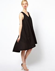 See By Chloé Black  High Low Dress with Thread Through Belt in Cotton Voile