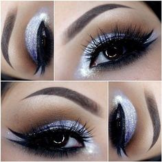 Lavender and brown eye make up