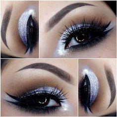 Lavender and brown eye make up