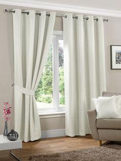 Neva Ready Made Blackout Eyelet Curtains - Cream