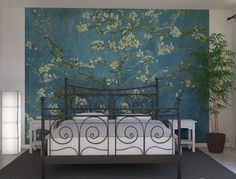 Installing An Awesome Van Gogh Almond Blossom Mural as Accent Wall Accent Walls In Living Room, Wall Wallpaper, Textured Wallpaper, Accent Wall, Cool Walls, Master Bedroom Wallpaper, Accent Wallpaper, Wall Decals For Bedroom, Bedroom Wall