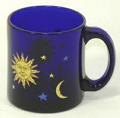 Old Libbey Glassware | Vintage Libbey Celestial Blue Cobalt Glass Coffee Mug Yellow Sun, Moon ...OMG I had this and loved it!